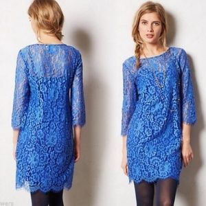 Anthropologie HD Paris Blue Lace Dress